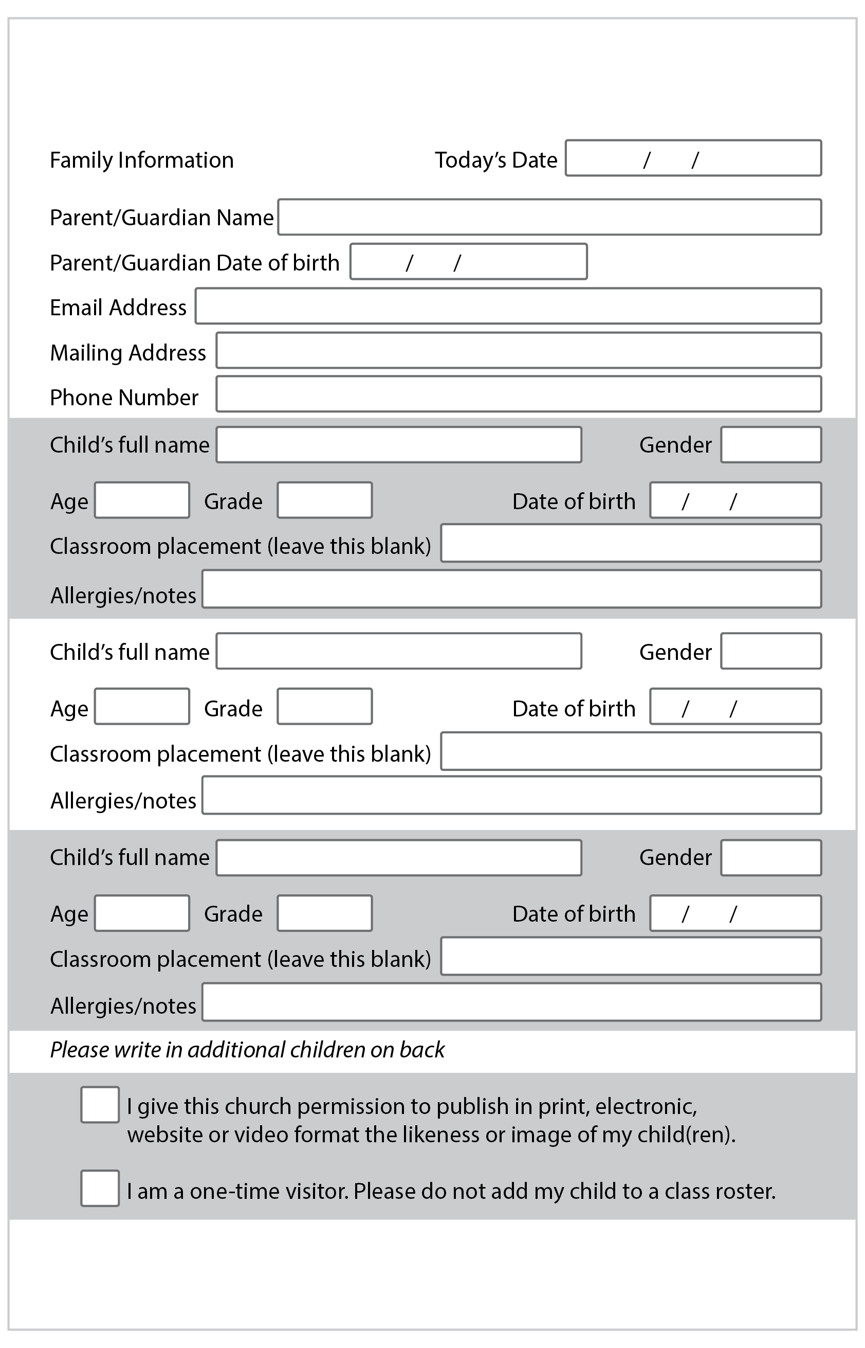 photograph relating to Printable Church Nursery Forms titled Up-to-date customer use type. Suitable for a clean familys