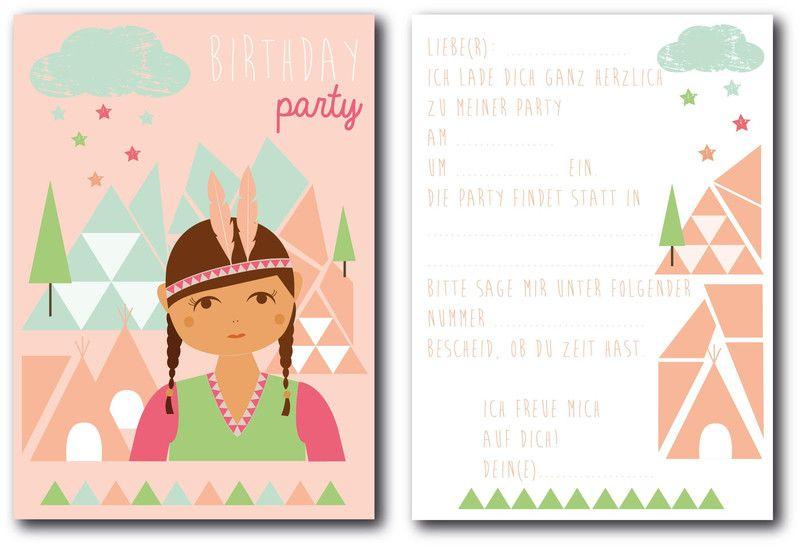 6 X Einladungen Kindergeburtstag Indianerin