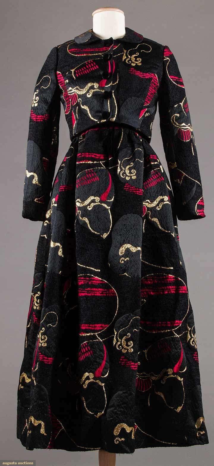 Lame brocade evening gown u jacket c black u red cut u uncut