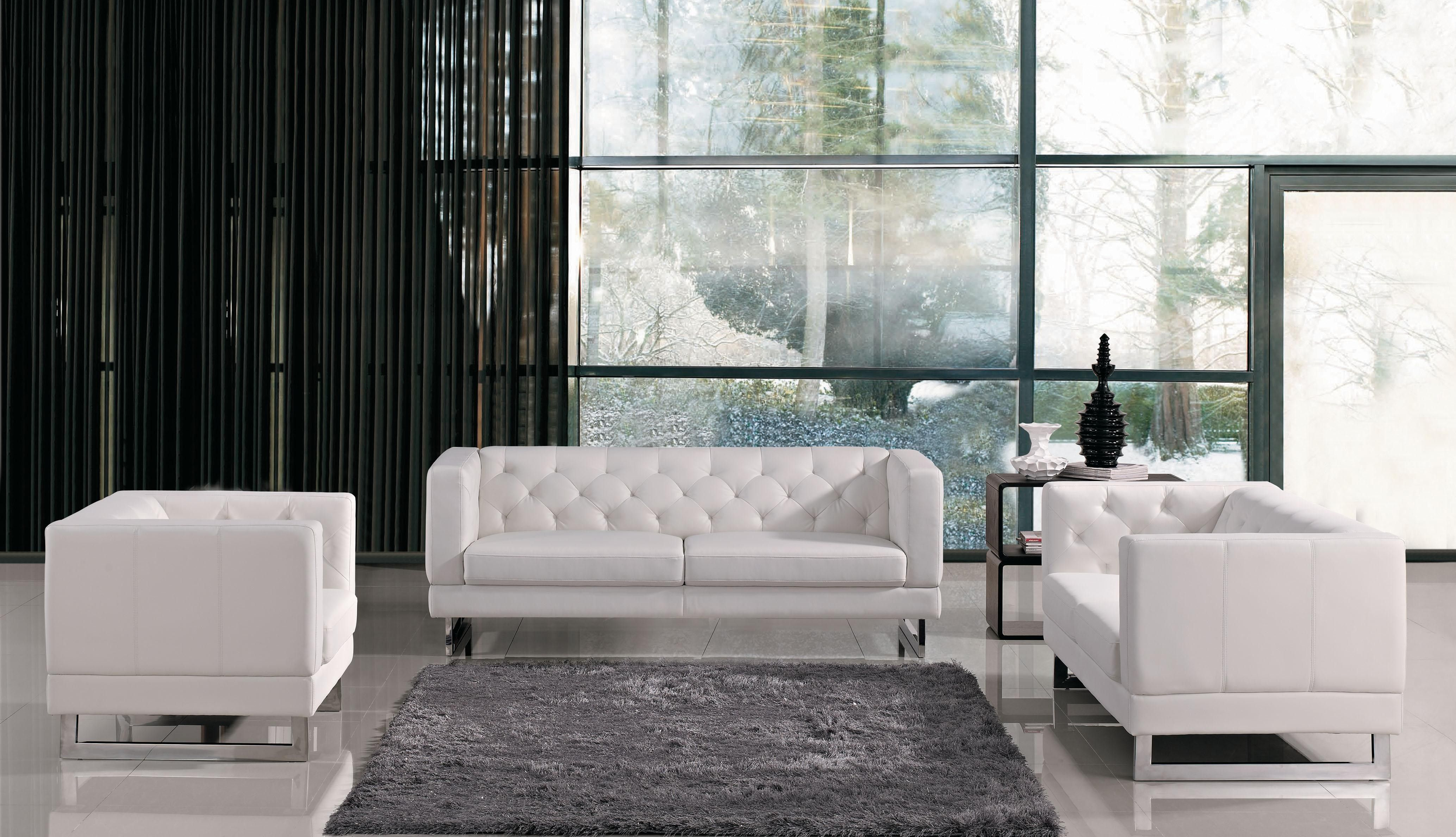 Well Liked Nail Button Backseat Modern White Leather Sofa With Grey Living  Fur Rug In