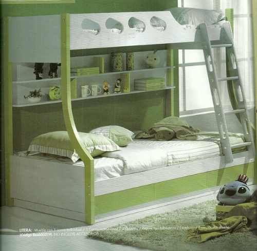 Cama litera con 1 cama individual y 1 cama matrimonial - Litera con cama de matrimonio ...