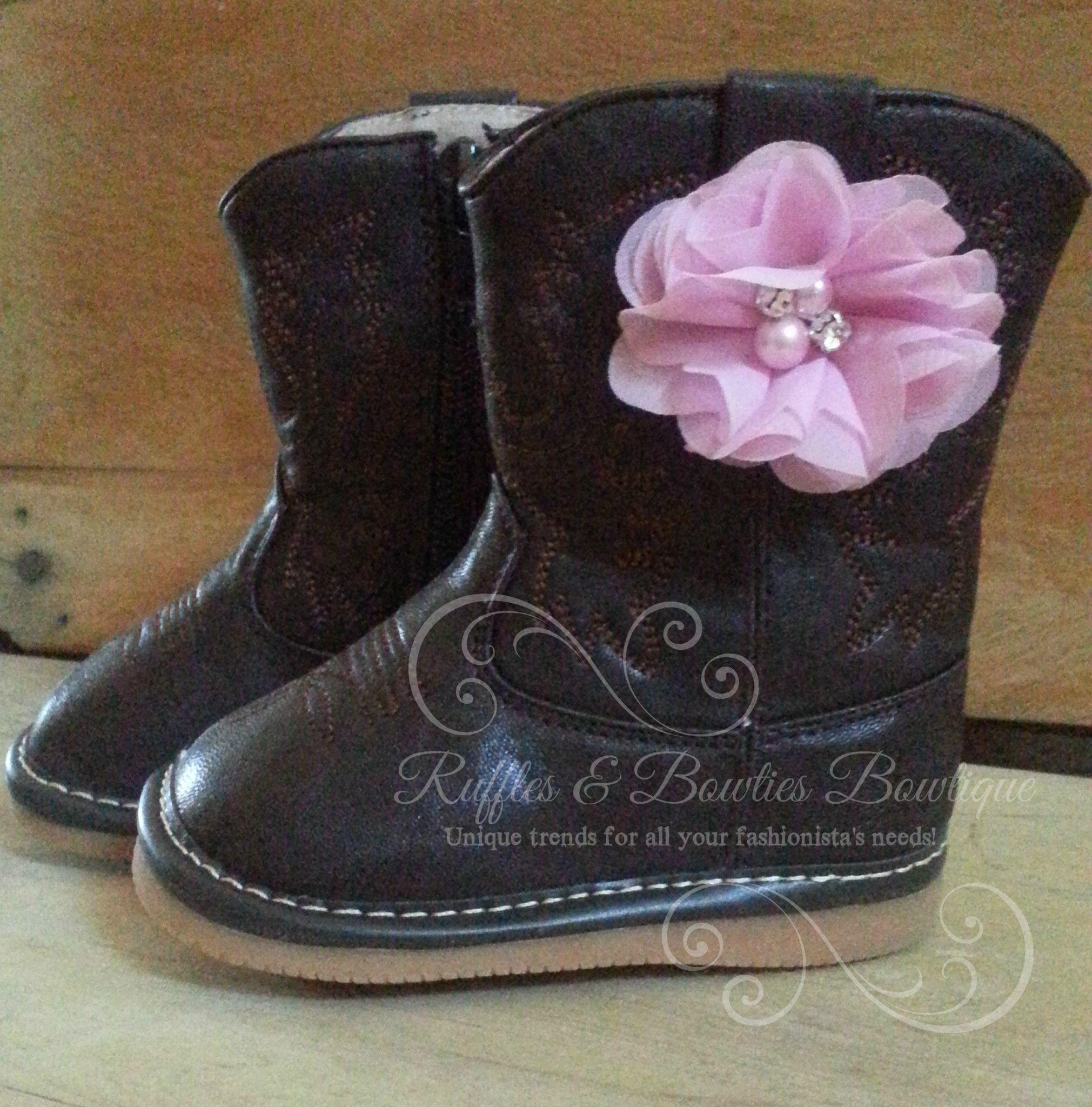 Dark Brown With Pink Flower Cowboy Boots