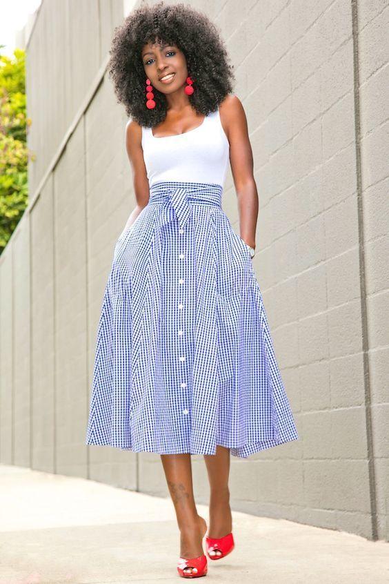 White Bodysuit + Gingham Midi Skirt #springskirtsoutfits