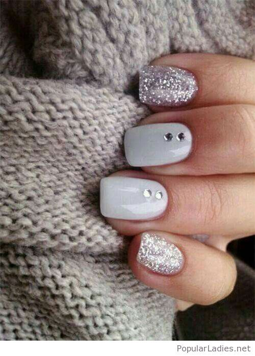 White gel nails with silver glitter | White gel nails, Silver ...