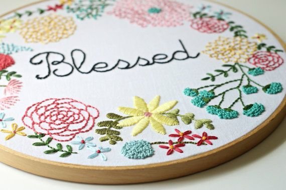 New - Oversized Custom Embroidered Hoop Art - Floral Wreath - Made