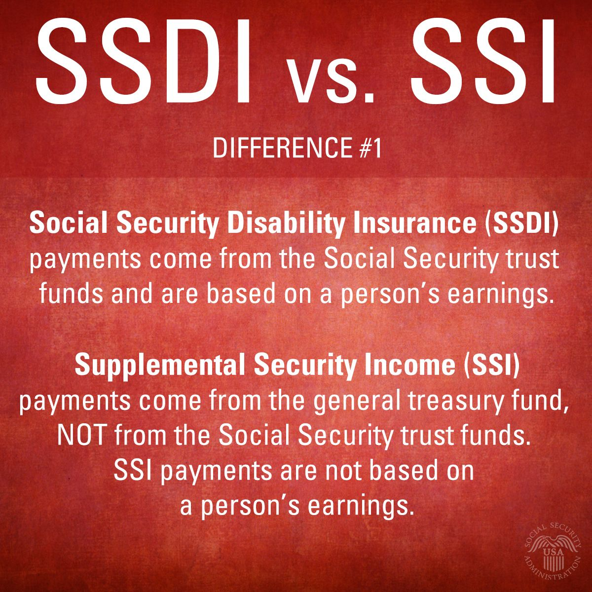 #SSDI payments come from #SocialSecurity #TrustFunds. #SSI ...