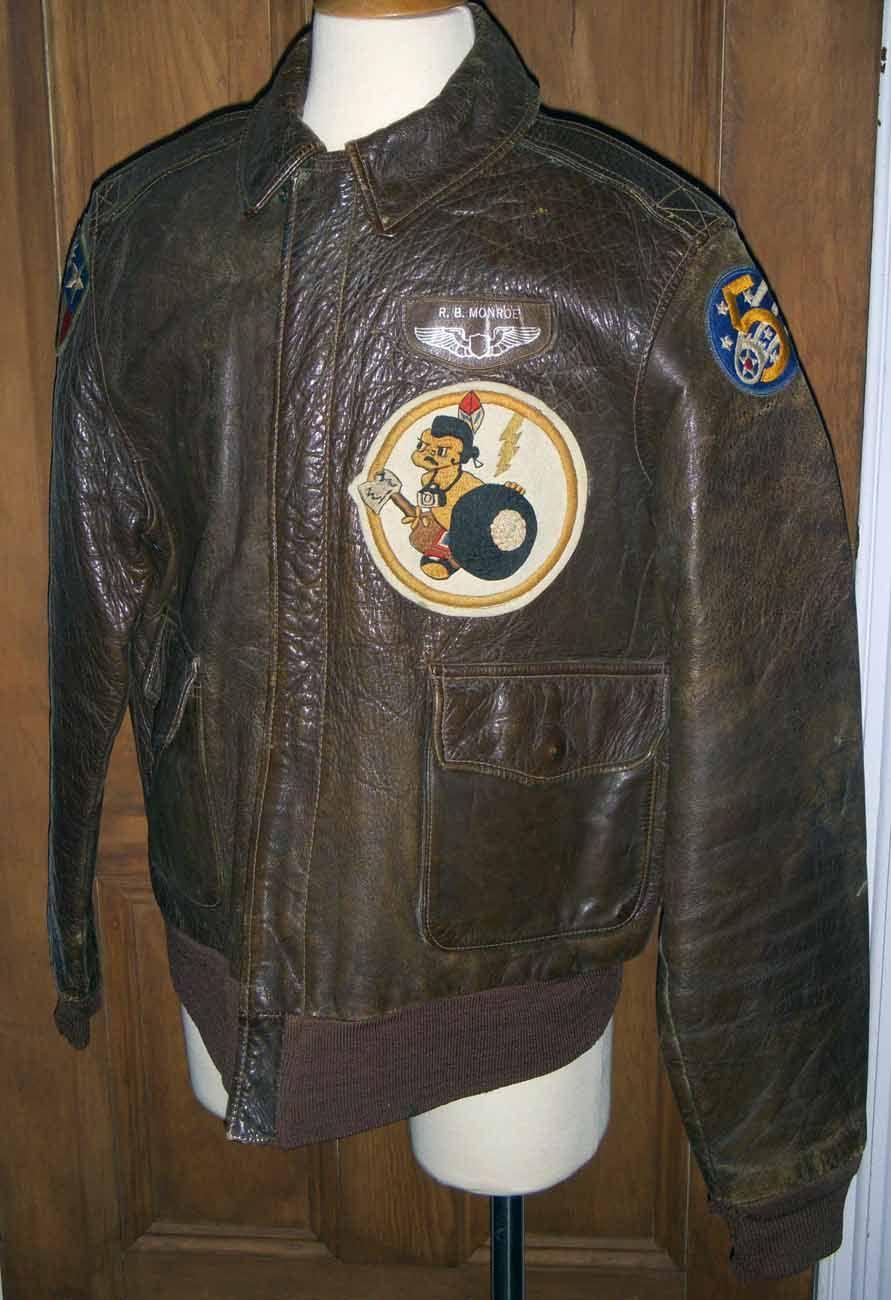 f128f6f00 WWII 5th USAAF P-38 Lightning Pilot Decorated A-2 Flight Jacket 8th ...