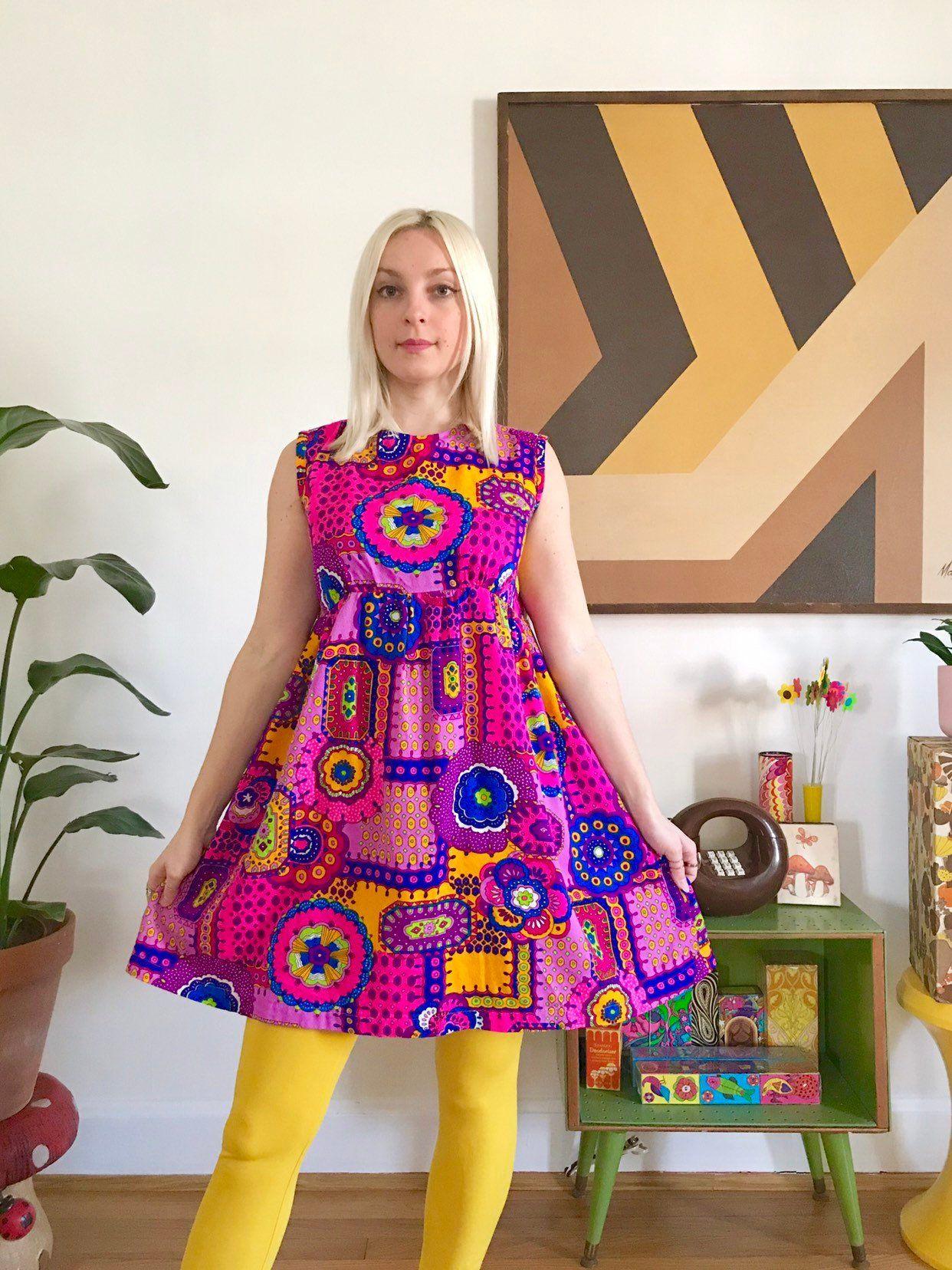 459c98f69c8a0 Vintage 60s 70s psychedelic babydoll mini dress M day glo kaleidoscope  print empire waist 1970s sleeveless micro mini dress homemade