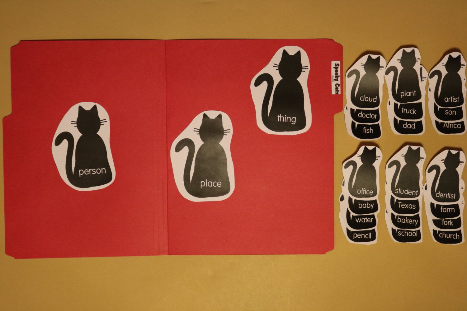 Spooky Cats File Folder Game Nouns Grammar Halloween Fall Game Cats First Second Grade Beginning Readers ESL students Special language needs by MyFileFolderGames on Etsy