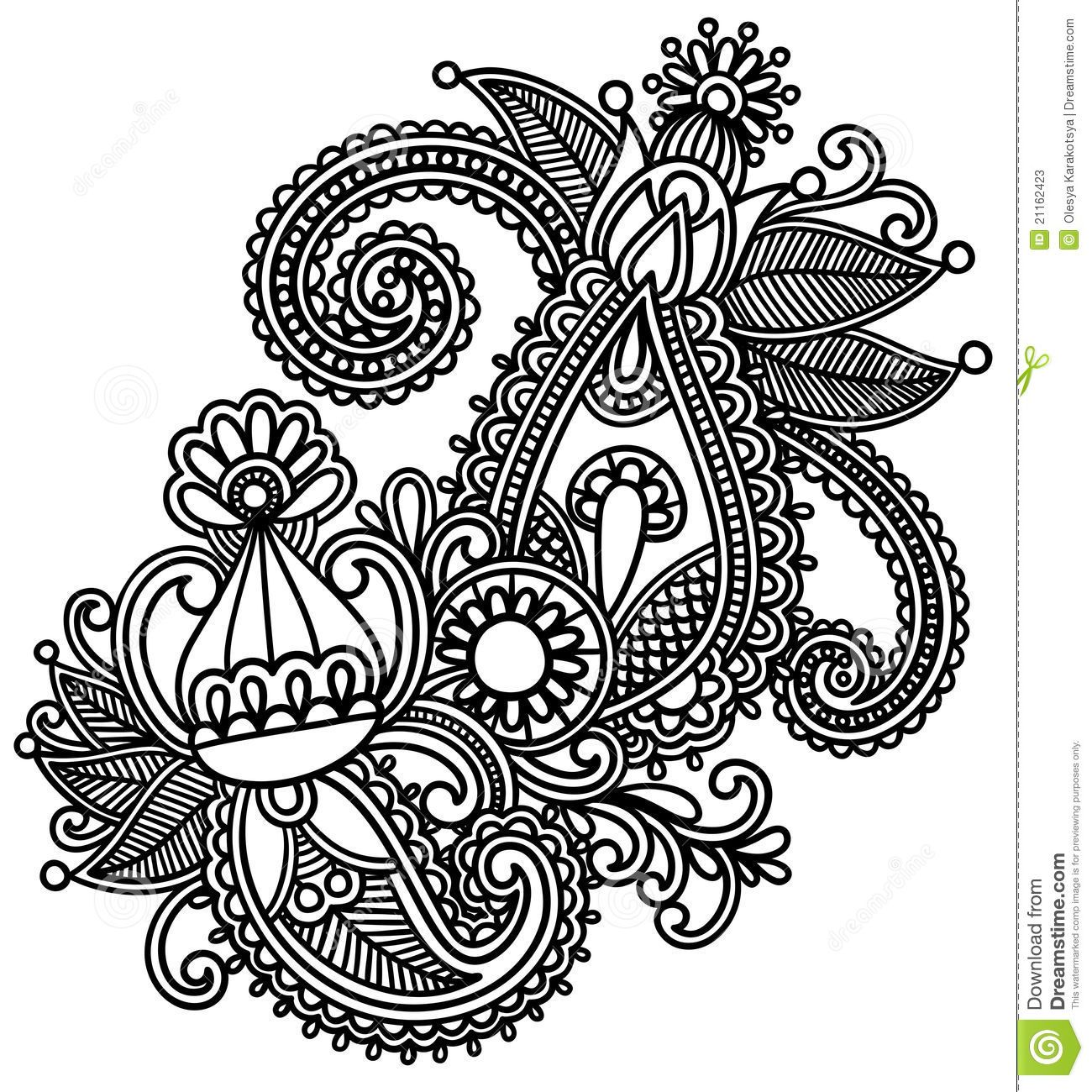 Coloring pages of mehndi hand pattern - Moroccan Henna Silhouette Hand Drawn Abstract Henna Mendie Flowers Doodle Vector Illustration