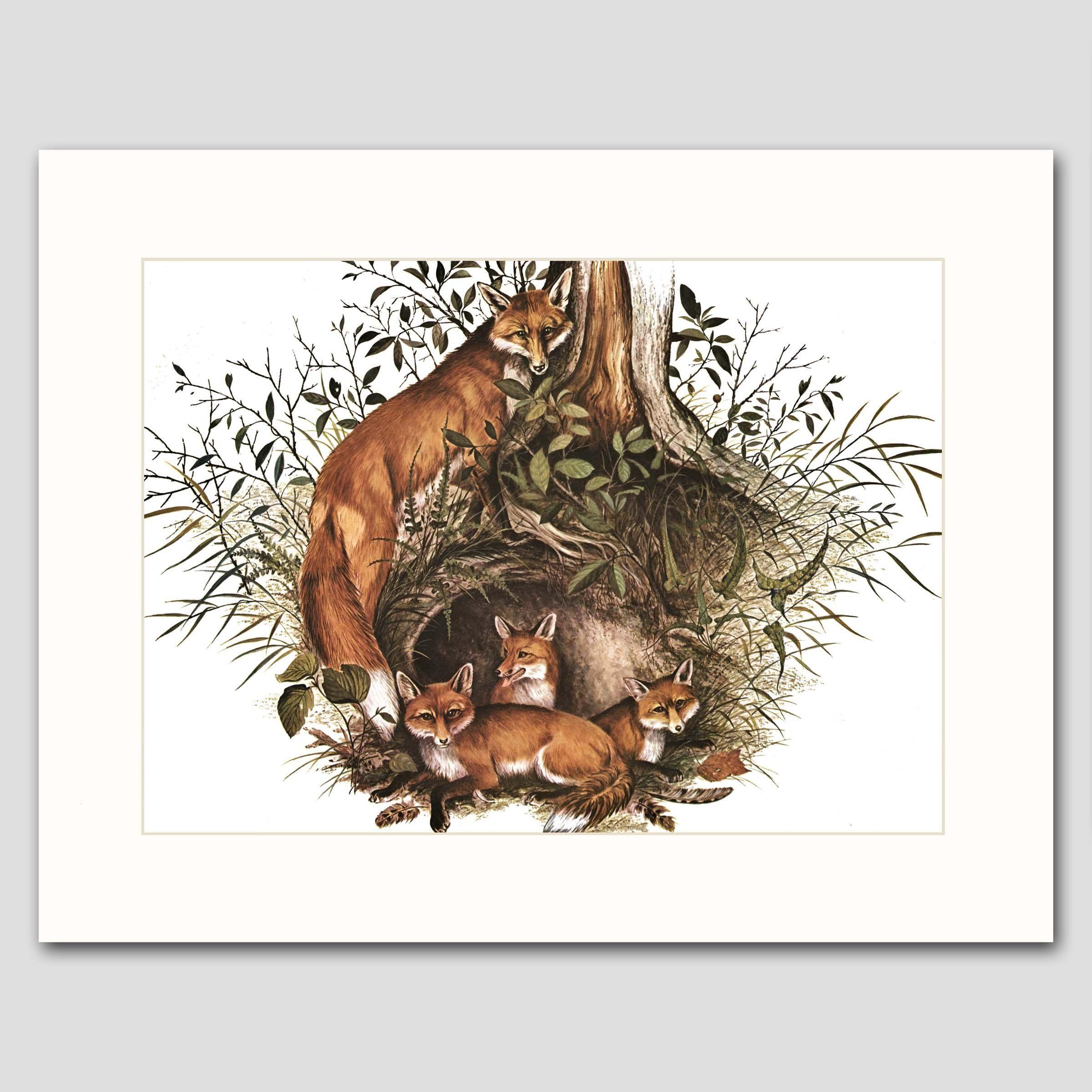 "Woodland Wall Decor fox art w/mat (rustic woodland wall decor, animal artwork) ""family"