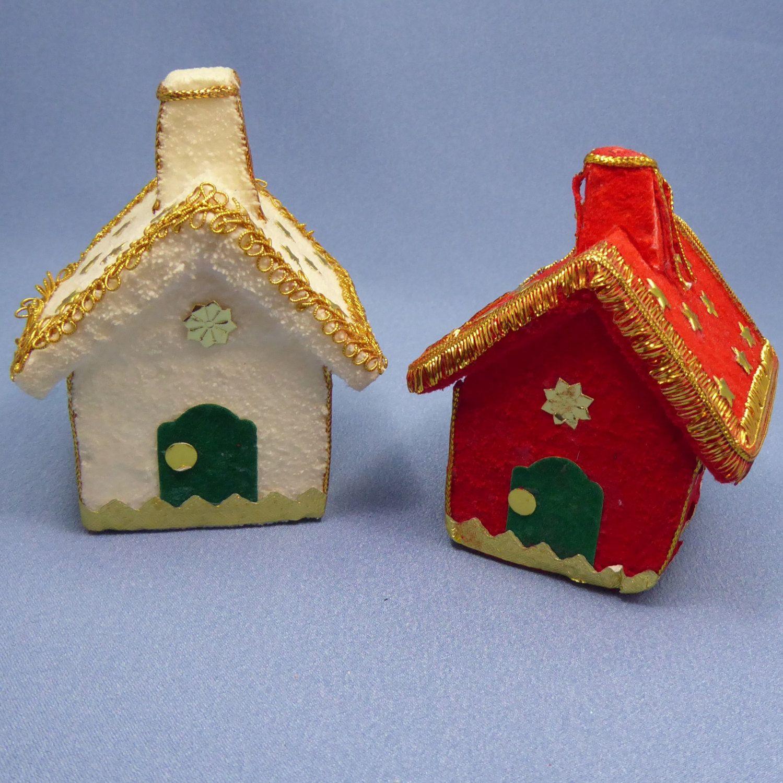 Styrofoam christmas ornaments - Vintage Styrofoam Christmas Ornaments Styrofoam Houses With Gold Stars Tree Ornaments By Thinkilikeit On