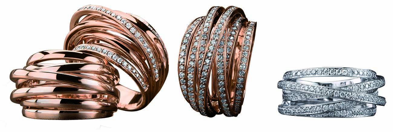691fe73c2d3f   JoyasPeyrelongue Anillos de aros con o sin   diamantes en oro rosa o  blanco de 18 kt.