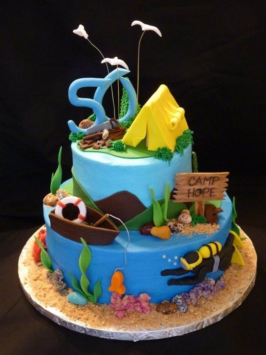 Fishermans cake Cool Cakes Pinterest Cake Camping cakes and