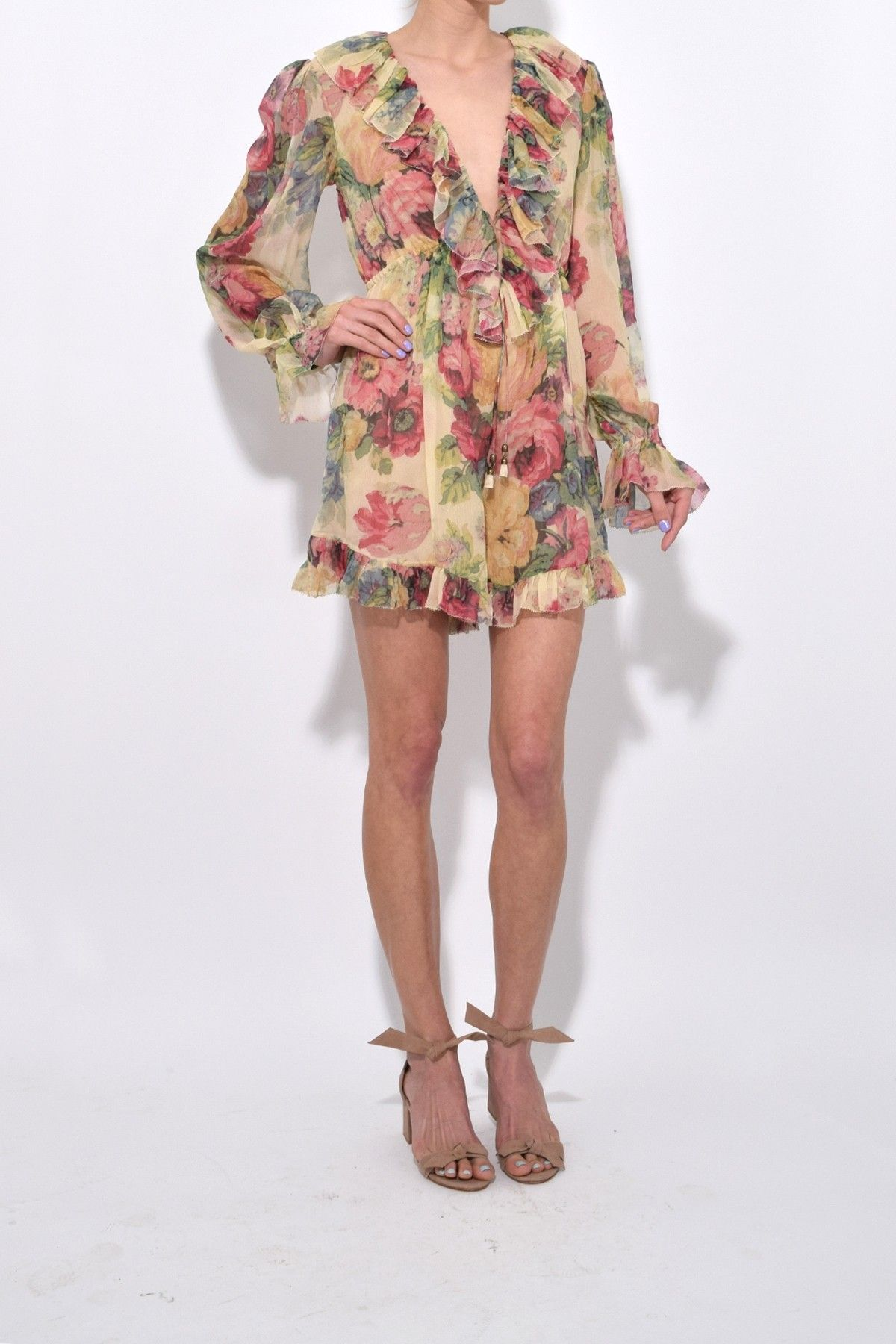 ce436d3bf0 Zimmermann Melody Floating Playsuit in Taupe Floral Playsuit