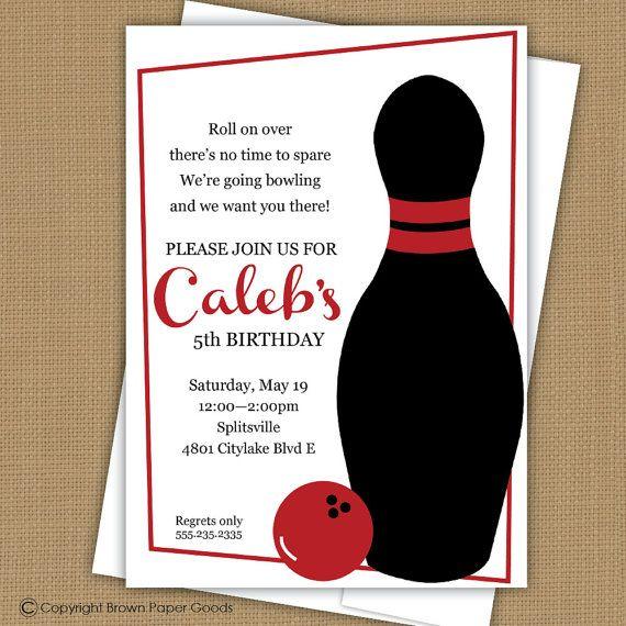 Bowling Birthday Party Invitation Bowling Birthday Invitation - bowling invitation