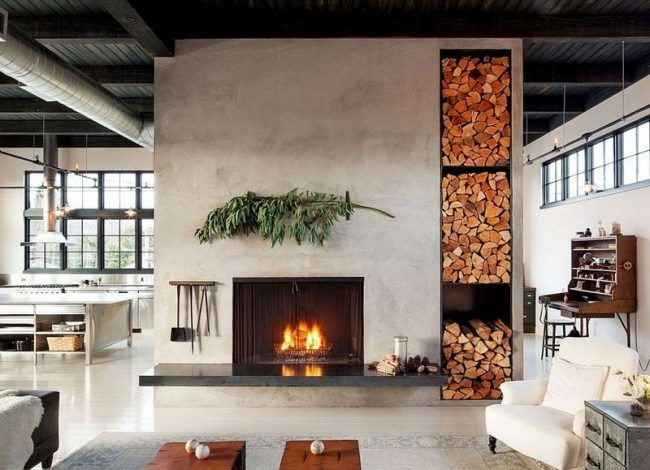 Wohnzimmer Industrial ~ Brennholz lagern kamin raumteiler freistehend wohnzimmer