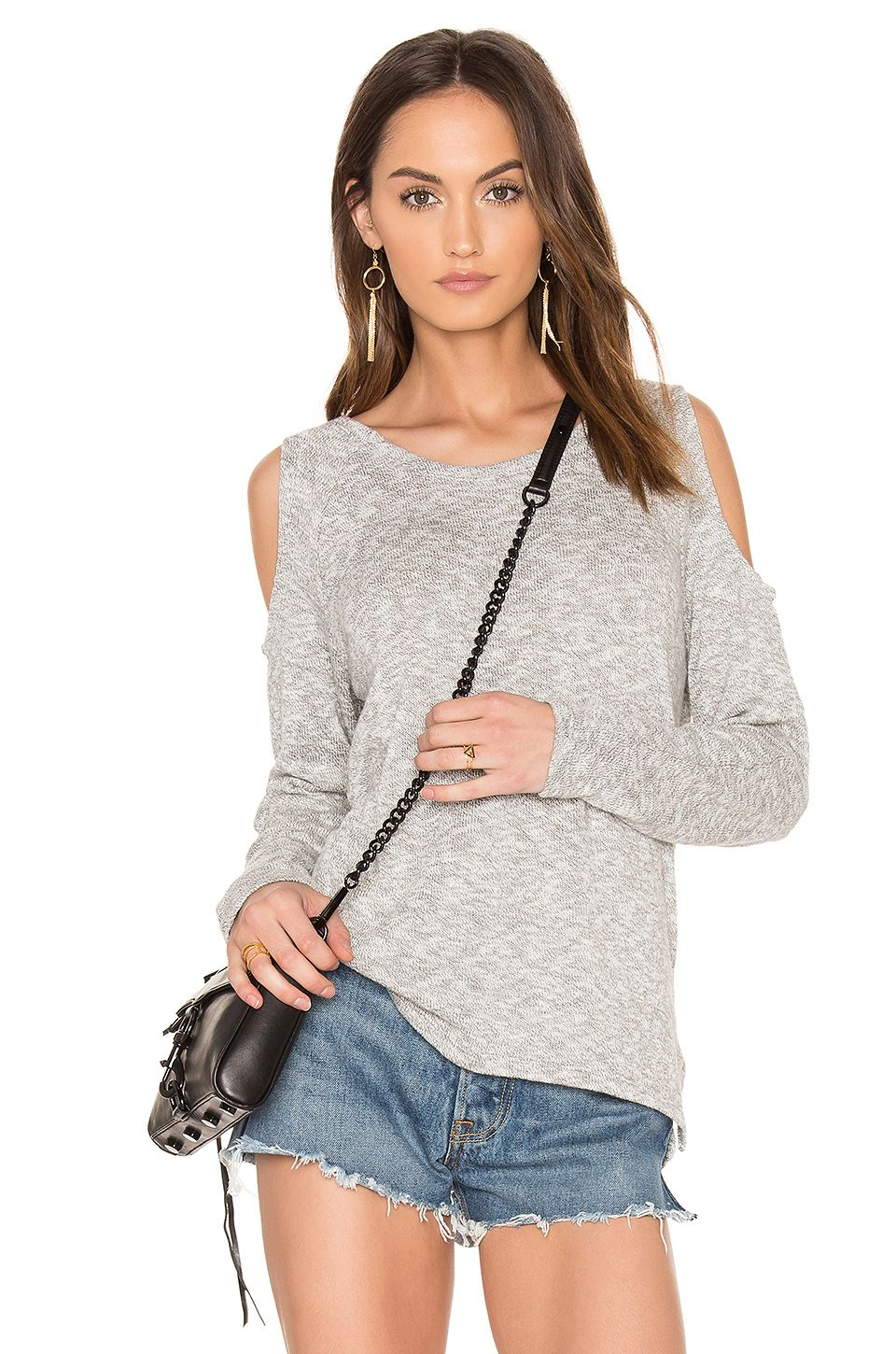 7cae4e81ec56e Bobi Marled Knit Cold Shoulder Top in Grey