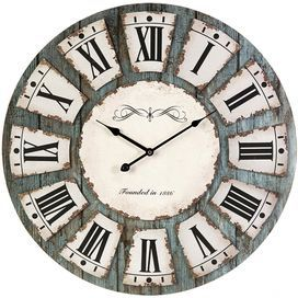 Distressed Wall Clock With A Roman Numeral Dial Product Wall Clock Construction Material Mdf And Metal Rustic Wall Clocks Distressed Wall Clock Wall Clock
