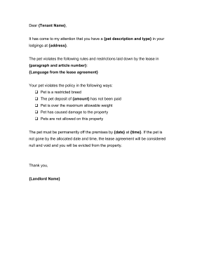Unauthorized Pet Notice Template Being A Landlord Legal Letter Lettering