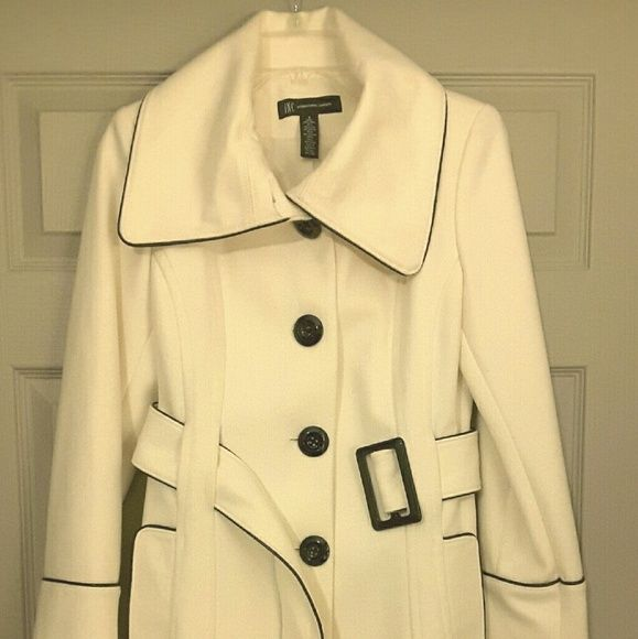Wool Bend Women's Coat, Ivory, Size Small I am selling a brand new wool blend coat in size Small.  This coat is by INC International Concepts; color is ivory with black leather accent trim and a belt - very beautiful.  I purchased it with intention of wearing it to an event but never got a chance to.  It is brand new, perfect condition. INC International Concepts Jackets & Coats Pea Coats