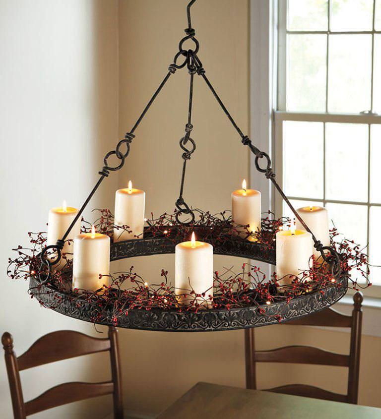 Amish Wrought Iron Candle Chandeliers