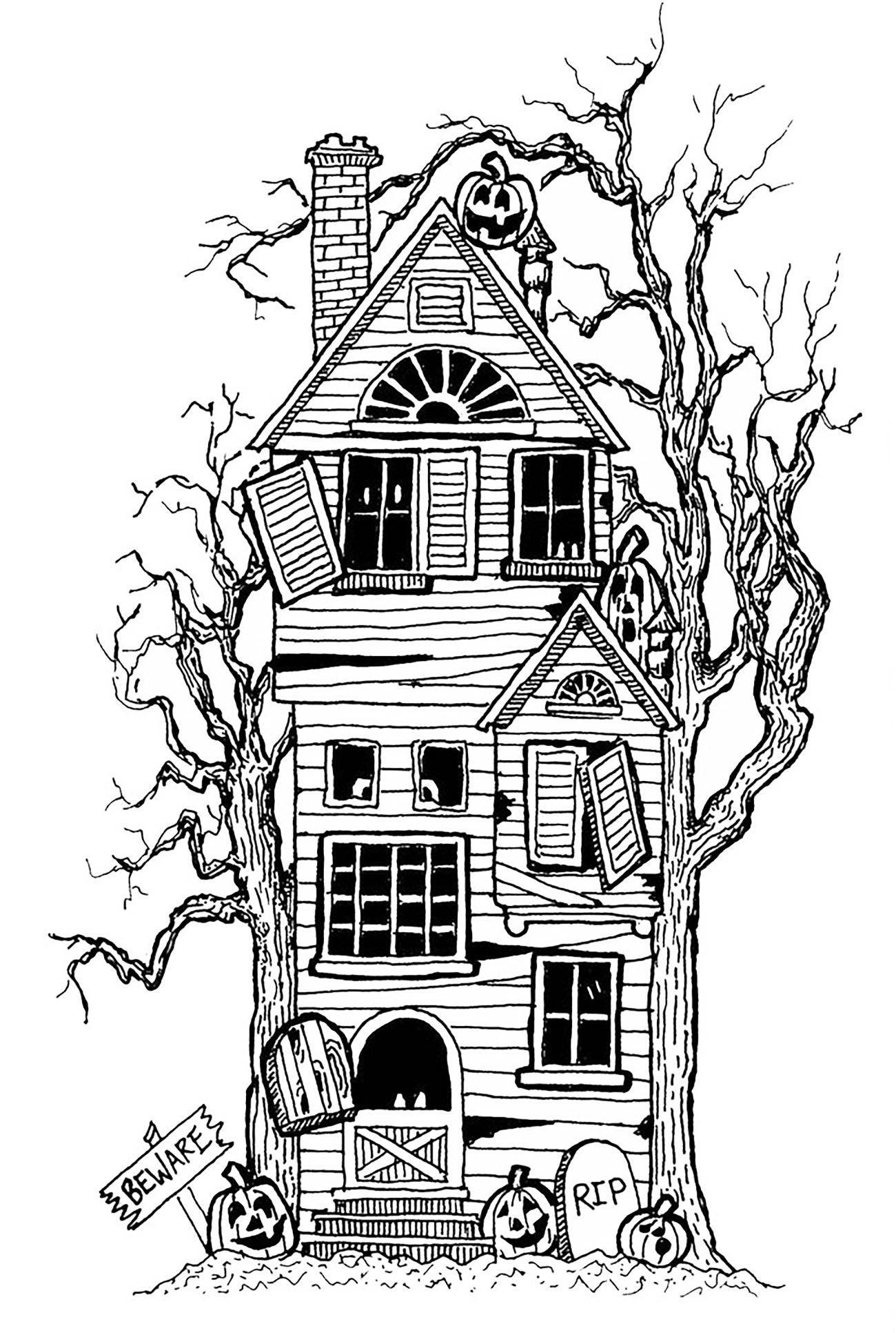 Une grande maison hantée à vous de colorier ses moindres