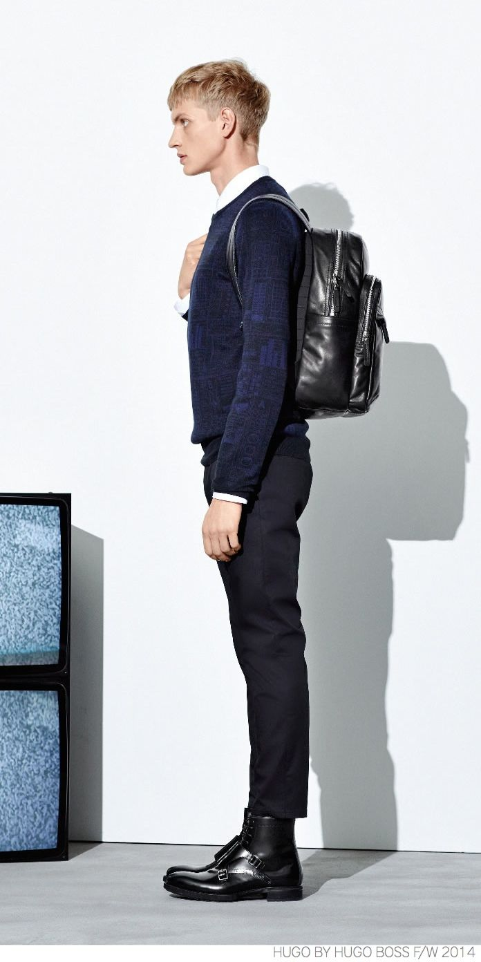 HUGO by Hugo Boss Provides Navy Suiting + Modern Outerwear for Fall/Winter 2014 image Hugo by Hugo Boss Fall Winter 2014 Look Book Modern Outerwear Navy Suit 002