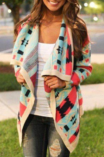 Stylish Turn-Down Collar Long Sleeve Print Coat For Women