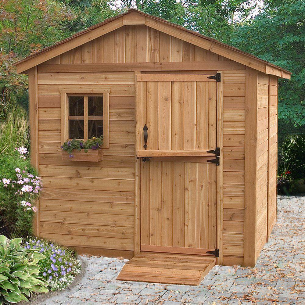 Outdoor Living Today 8 Ft X 8 Ft Cedar Gardener Shed Lowe S Canada Cedar Shed Outdoor Storage Sheds Wooden Storage Sheds