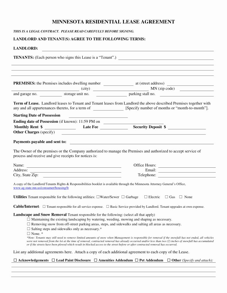 Residential Rental Agreement Form Best Of Free Minnesota Association Of Realtors Residential Lease Purchase Agreement Being A Landlord Agreement Quote