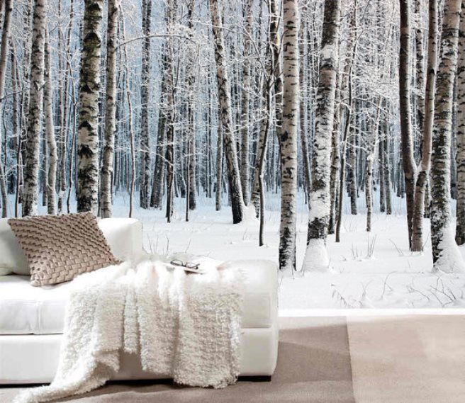 Snow Covered Forest Wall Mural For The Contemporary Bedroom Part 35