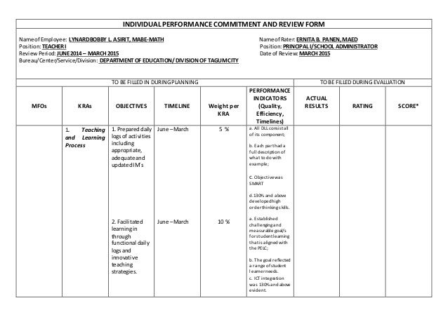 Sample IPCRF (Rpms hush final rechecked) by Hush Ameen via - performance review format