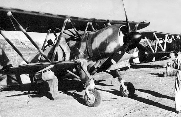"""Seen in Sicily on June 1943, this is one of the CR.42s employed as """"last-ditch"""" effort against the Allied landings. Several interesting details are noticeable: the sand filter under the nose; the large new spinner, and the elimination of the wheel pants to improve a fast maintenance of the leg oleo struts. The late camouflage consisting of dark green overall with big sand blotches is even more noticeable here."""