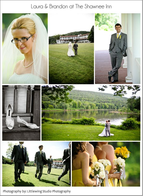 A yellow and grey themed wedding at the Shawnee Inn in the Poconos.  Flowers by Bloom by Melanie www.bloombymelanie.com