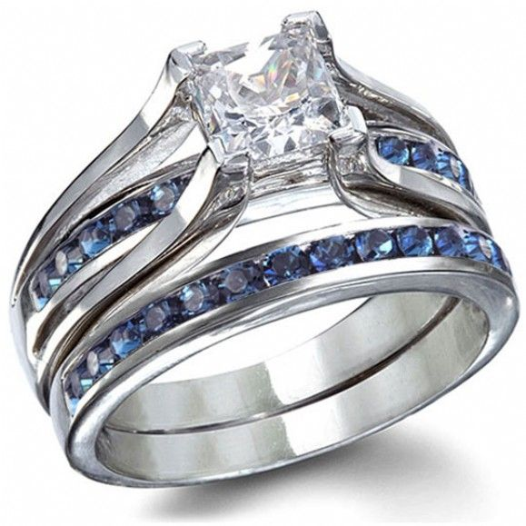 bethanys sterling silver sapphire blue princess cut wedding ring set only 4995 fantasy jewelry - Blue Wedding Ring Set