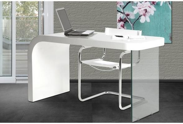 Optic Design Desk White High Gloss Glass Home Office Table Office Desks Home Office Table Desk Design Desk Modern Design