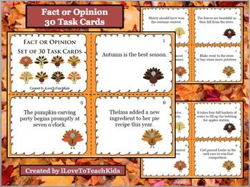 30 Fact or Opinion Task Cards Turkey Fall Themed Language Arts ...