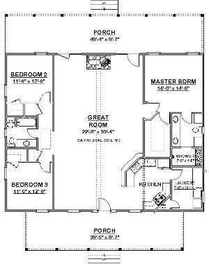 Gentil Square House Plans 40x40 | The Makayla Plan Has 3 Bedrooms And 2 Baths In A