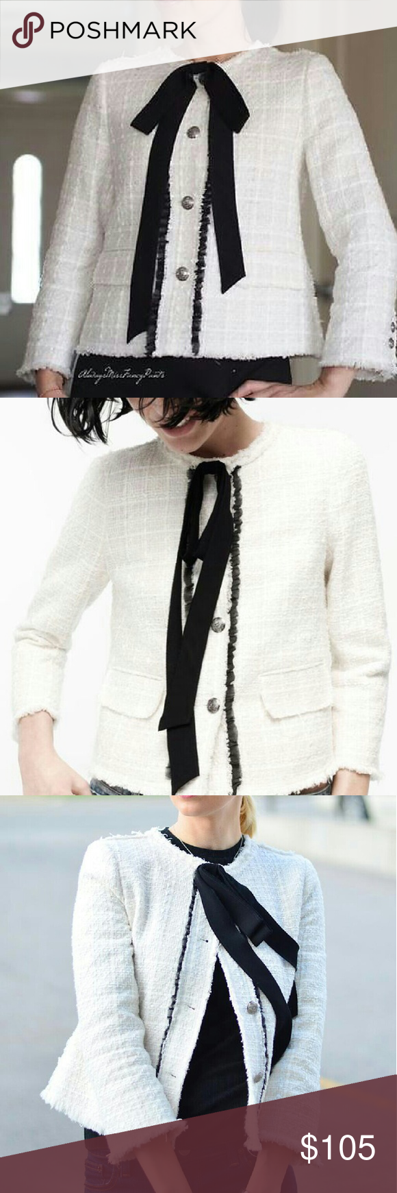 2d4294a2 Lady tweed jacket with bow Chanel look round neck jacket with black bow....outershell  40% cotton, 30% acrylic, 27% polyester, and 3% viscose...lining 95% ...