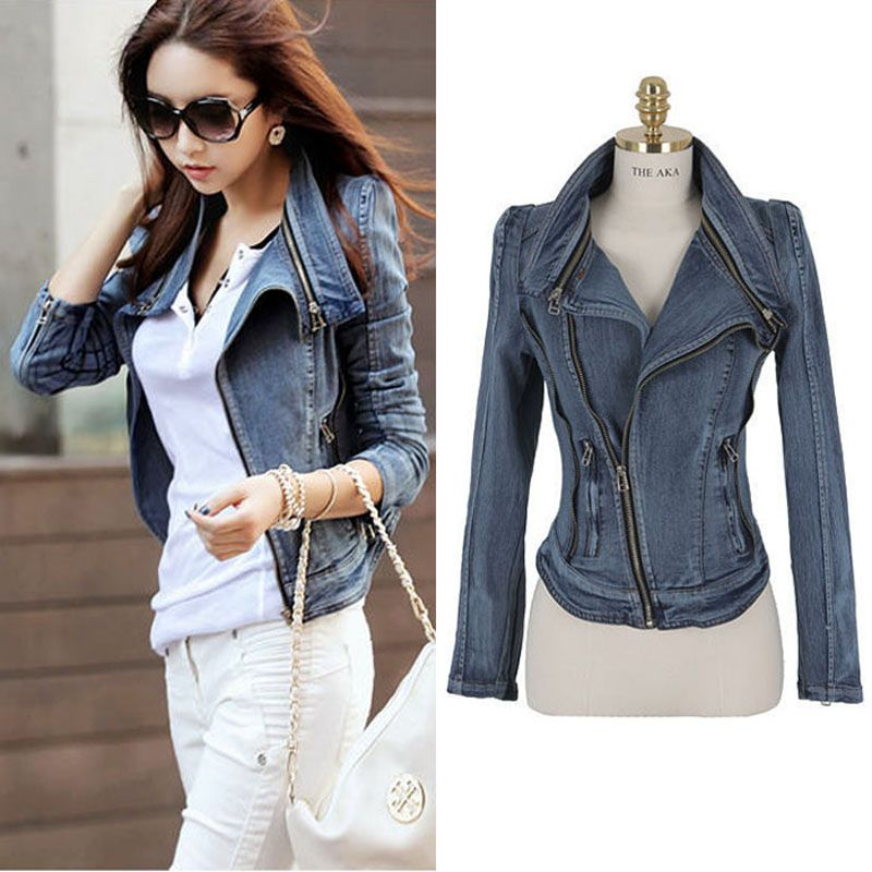 Fashion womens cool blue slim zipper adorn fitted small jeans coat ...