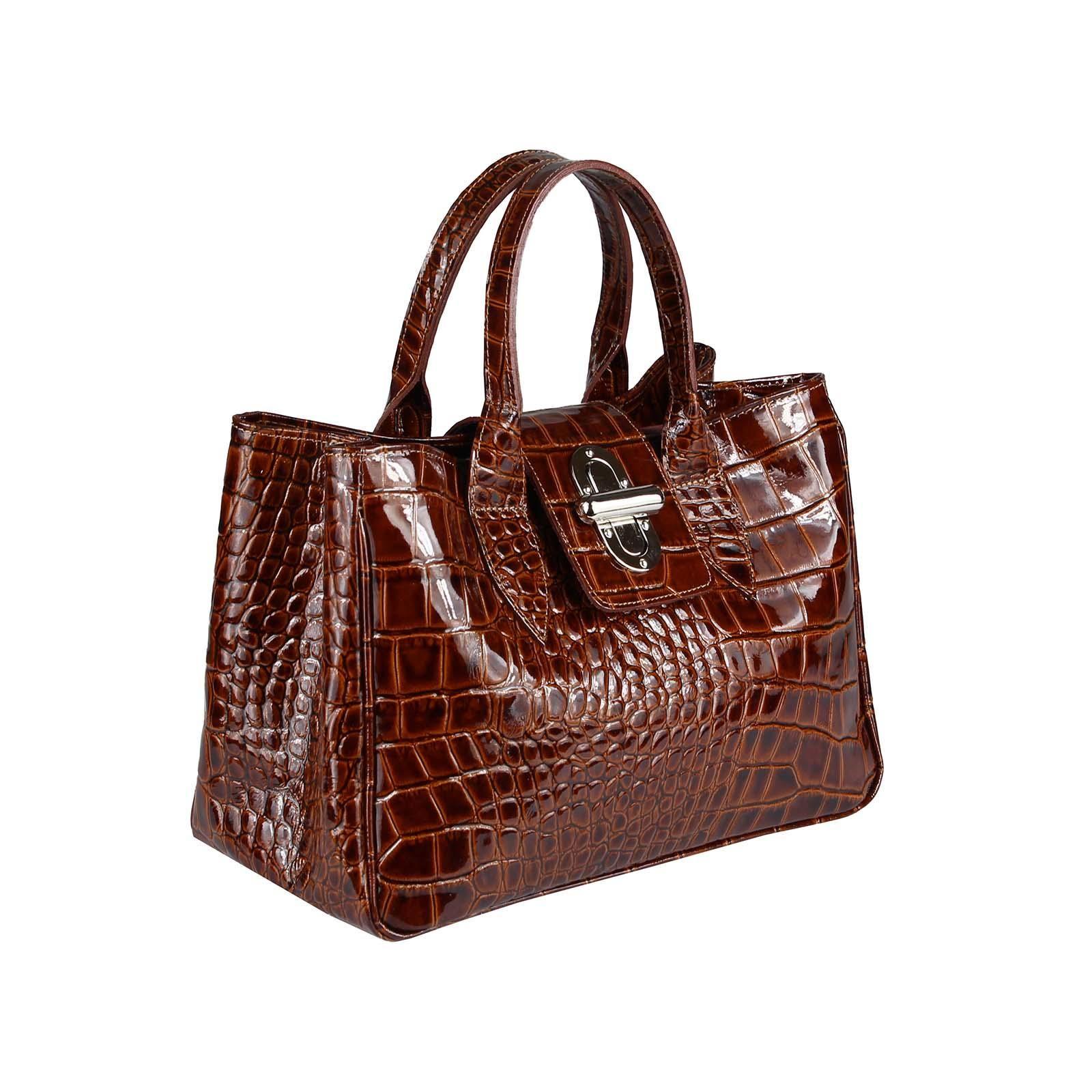 ITAL DAMEN LACKLEDER TASCHE Handtasche Umhängetasche Shopper