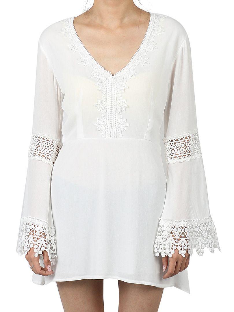 1dfea6c3bb White V Neck Crochet Lace Panel Flare Sleeve Dress