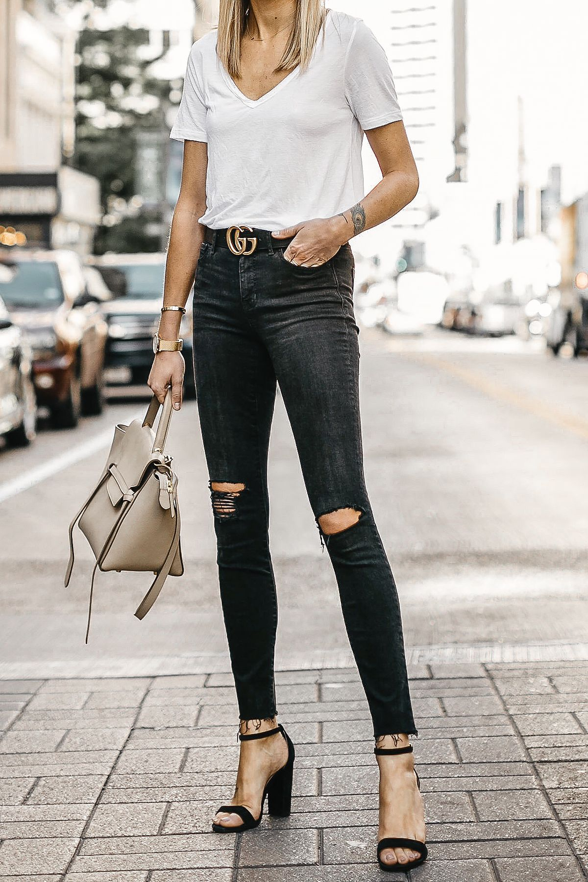 3bfc6a4f2a1 Woman Wearing White Tshirt Black Ripped Skinny Jeans Gucci Marmont Belt  Black Ankle Strap Heeled Sandals Celine Mini Belt Bag Fashion Jackson  Dallas Blogger ...