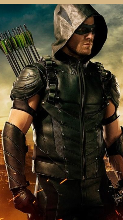 Stephen Amell Arrow 6 Green Hooded Real Leather Ja