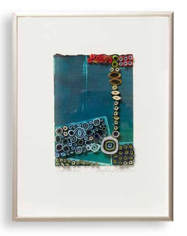 "Amy Eisenfeld Genser  Longitude Blue  9"" x 13""  Paper and acrylic, framed"