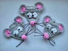 Häkelapplikationen - Maus - ein Designerstück von ursula-petra bei DaWanda #muñecosdeganchillo