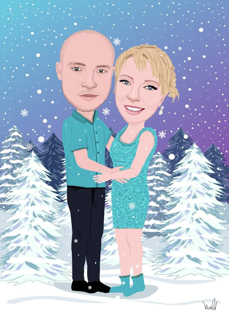 Custom Wedding Caricature Cartoon Wedding Portrait Personalized