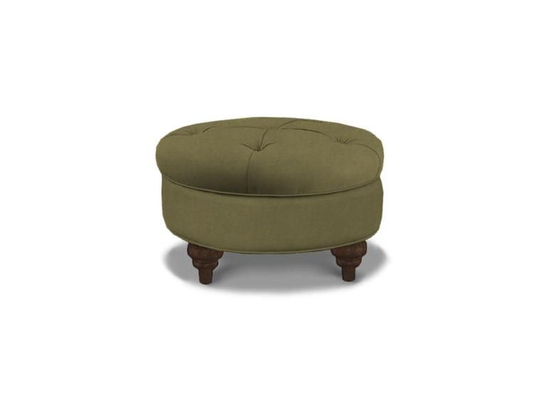 Custom Made Round Tufted Ottoman In Sage Velvet From Bassett Furniture.
