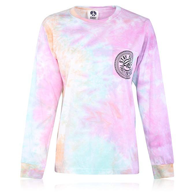 e216648f Exist Long Sleeve Tie Dye Front & Back Wave Design Tee Shirt (Small ...
